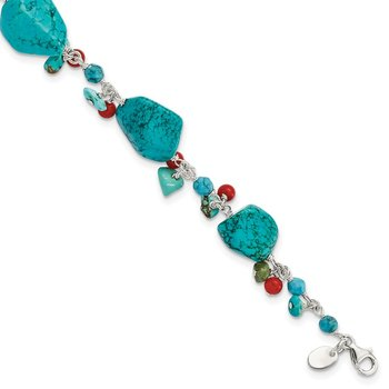 Sterling Silver Dyed Howlite/Turquoise/Red Coral Bracelet