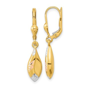 14k Yellow w/White and Rose Rhodium-plated D/C Dangle Leverback Earrings