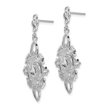 14k White Gold Diamond-cut Filigree Dangle Earrings