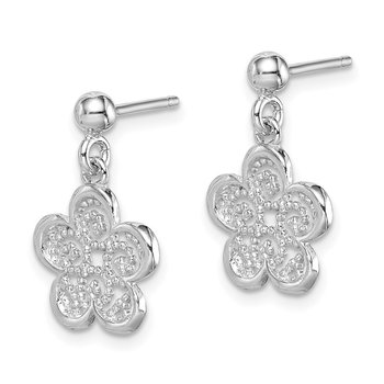 Sterling Silver Rhodium-plated Polished Filigree Flower Dangle Earrings