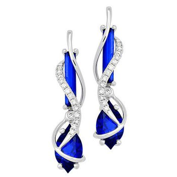 Blue Sapphire Earrings-CE4149WBS