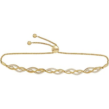 10kt Yellow Gold Womens Round Diamond Bolo Bracelet 1/2 Cttw