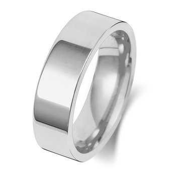 18Ct White Gold 6mm Flat Court Wedding Ring