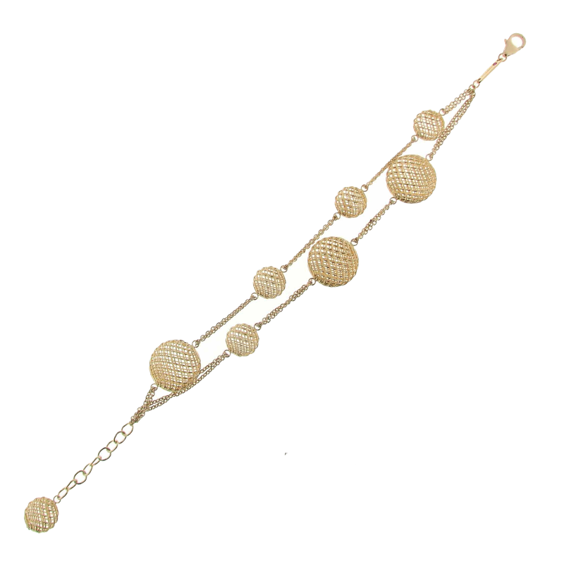 Roberto Coin 18KT GOLD 2 ROW ROUND STATION BRACELET