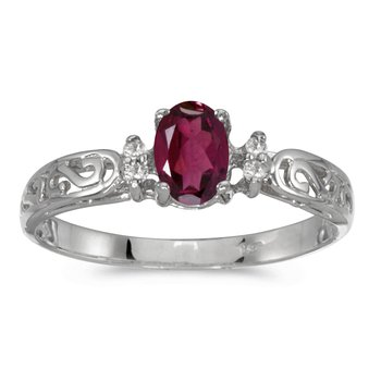 14k White Gold Oval Rhodolite Garnet And Diamond Filagree Ring