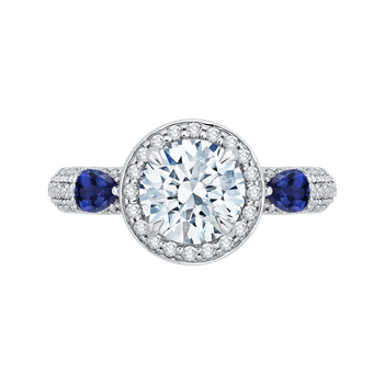 18K White Gold Round Diamond Halo Engagement Ring with Sapphire (Semi-Mount)