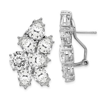 Cheryl M Sterling Silver RH-plated CZ Fancy Cluster Omega Back Earrings
