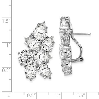 Cheryl M Sterling Silver CZ Fancy Omega Back Earrings