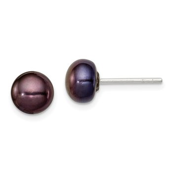 Sterling Silver 5-6mm Black FW Cultured Pearl Button Earrings