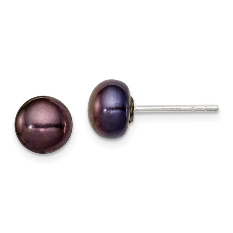 Quality Gold Sterling Silver 5-6mm Black FW Cultured Pearl Button Earrings