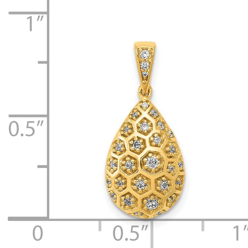 JC Sipe Essentials 14k 1/5ct. Diamond Teardrop Honeycomb Chain Slide