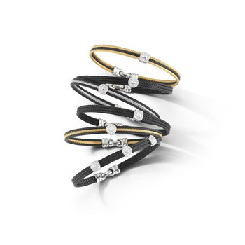 Black & Yellow Cable Classic Stackable Bracelet with Single Round Station set in 18kt White Gold