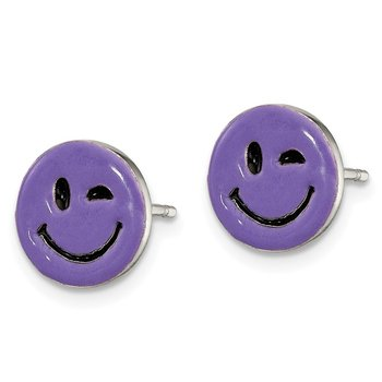 Sterling Silver Purple Enamel Winking Smiley Face Post Earrings