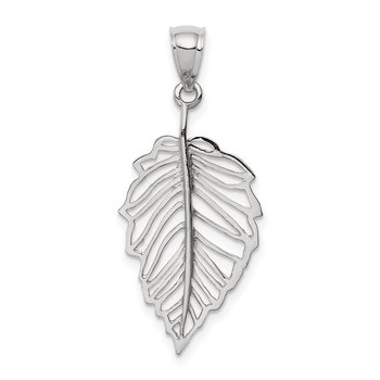 14K White Polished Leaf Pendant