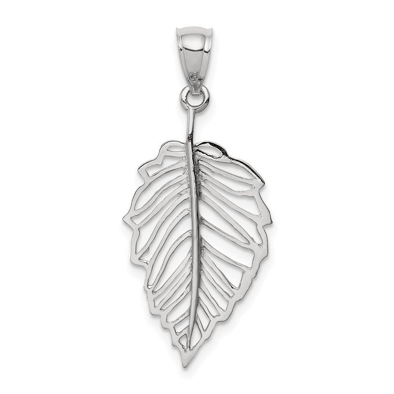 Quality Gold 14K White Polished Leaf Pendant