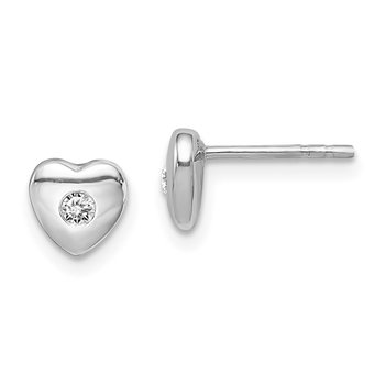 Sterling Silver Rhodium-plated w/CZ Heart Post Earrings