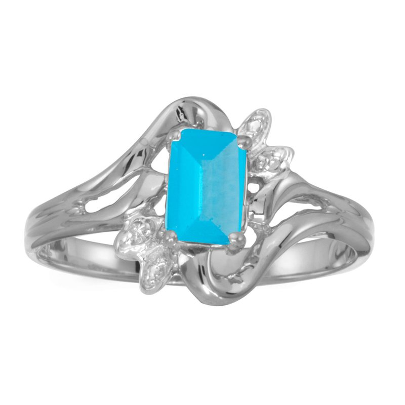 Color Merchants 10k White Gold Emerald-cut Blue Topaz And Diamond Ring