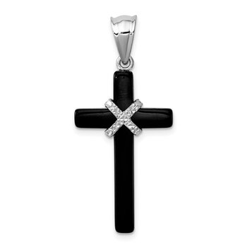 Sterling Silver Rhodium-plated Onyx Cross Pendant