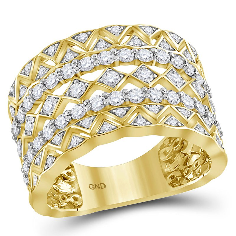 Gold-N-Diamonds 14kt Yellow Gold Womens Round Diamond Zigzag Chevron Symmetrical Band Ring 1-1/5 Cttw