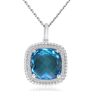 14K Cushion Blue Topaz Rope Pendant