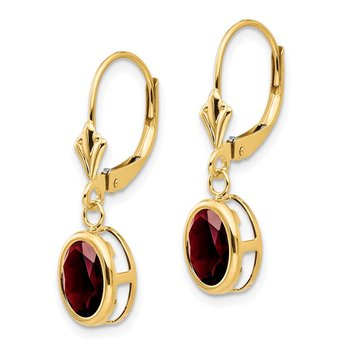 14k 8x6mm Oval Garnet Leverback Earrings