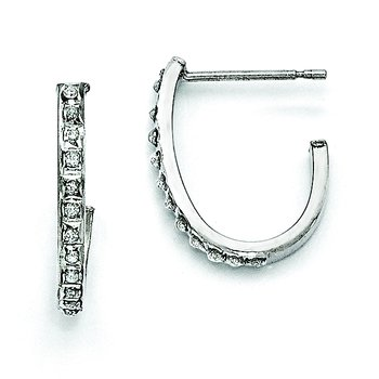 Sterling Silver Diamond Mystique Round Post Hoop Earrings