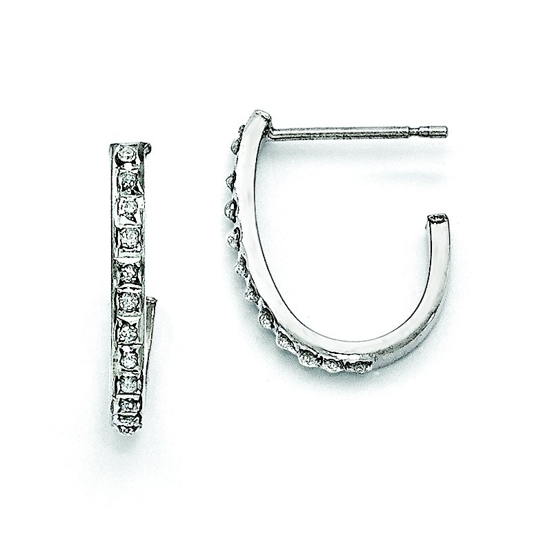 Quality Gold Sterling Silver Diamond Mystique Round Post Hoop Earrings