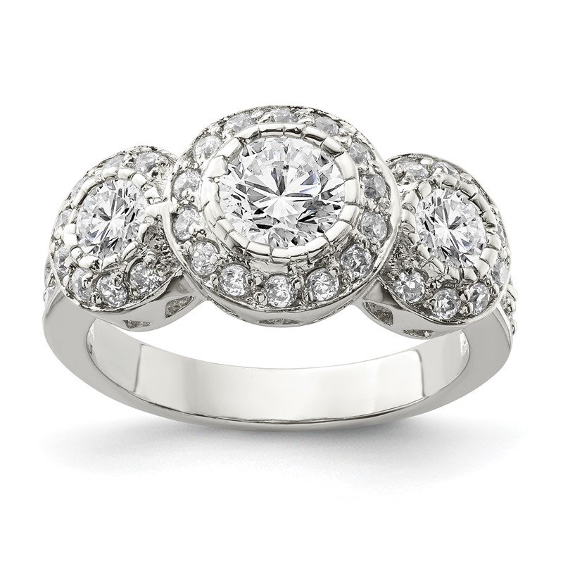 Quality Gold Sterling Silver CZ 3-stone Ring
