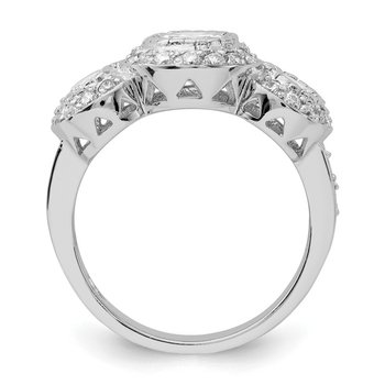 Sterling Silver CZ 3-stone Ring