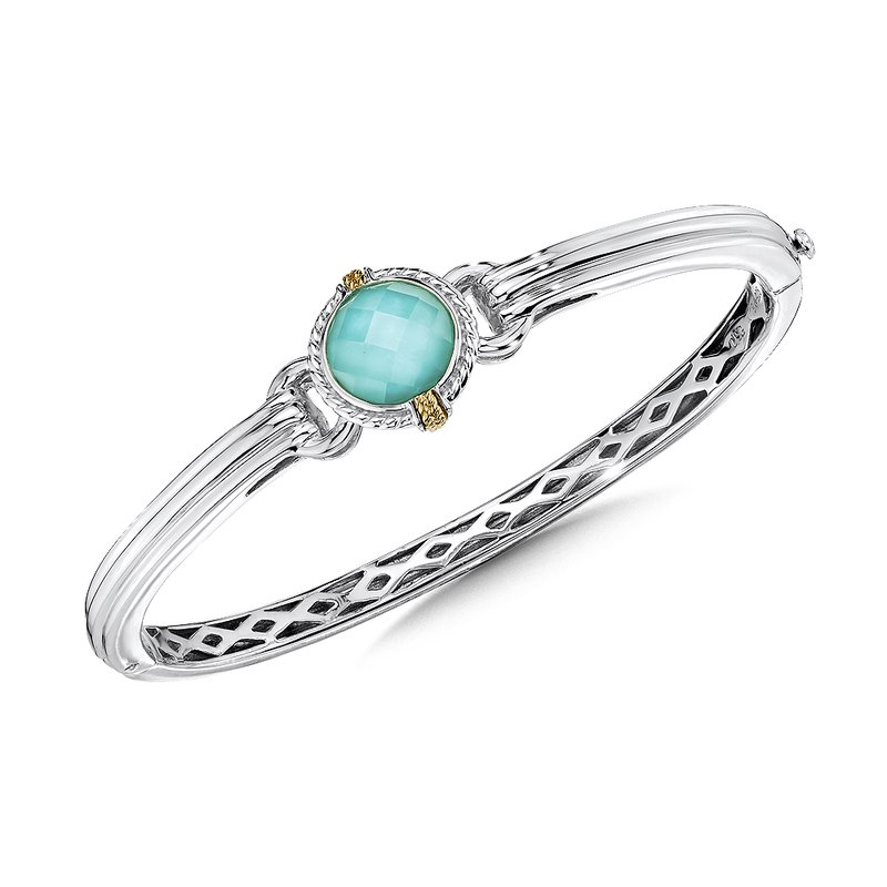 Colore Sg Sterling silver, 18k gold and turquoise fusion bracelet