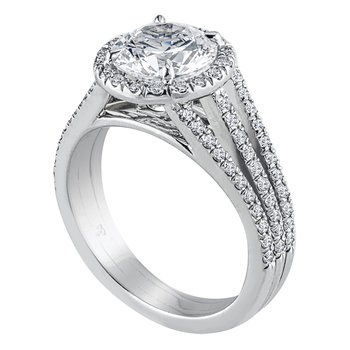 Triple Shank Pave Halo Diamond Engagement Ring