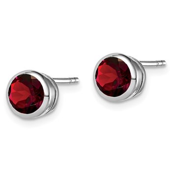 Sterling Silver Rhodium-plated Garnet Circle Stud Earrings