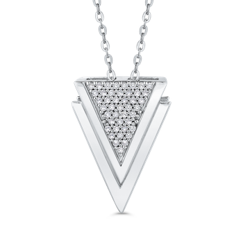 10K White Gold 1/5 Ct Diamond Fashion Pendant with Chain