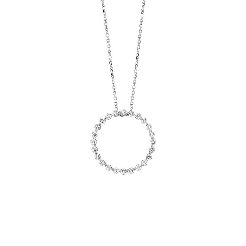 Gems One Diamond Eternity Circle Floating Pendant Necklace in 14k White Gold (1/2ctw)
