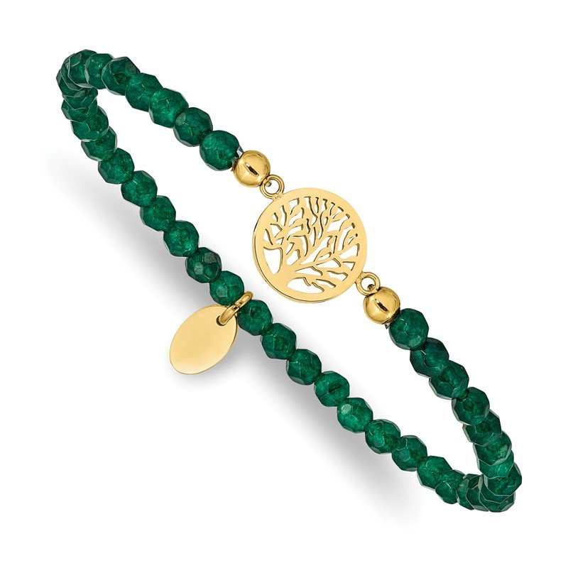 Chisel Stainless Steel Polished Yellow IP Tree of Life Green Jade Stretch Bracelet