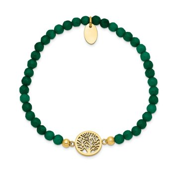 Stainless Steel Polished Yellow IP Tree of Life Green Jade Stretch Bracelet