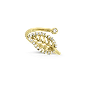 Diamond Leaf Midi Ring (Size 3.5) in 14K Yellow Gold with 24 Diamonds Weighing .16 ct tw