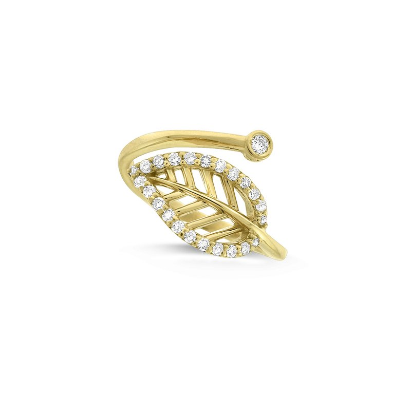 KC Designs Diamond Leaf Midi Ring (Size 3.5) in 14K Yellow Gold with 24 Diamonds Weighing .16 ct tw