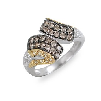 14K WG Diamond & Champagne Diamonds with Yello Sapphir