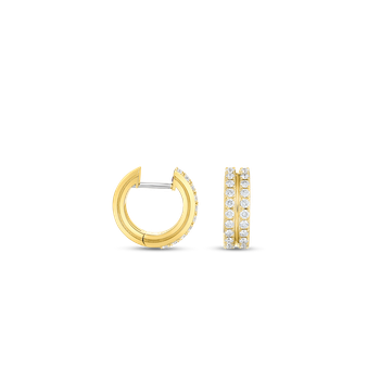 #29769 Of 18Kt  2 Row Diamond Round Hoop Earring