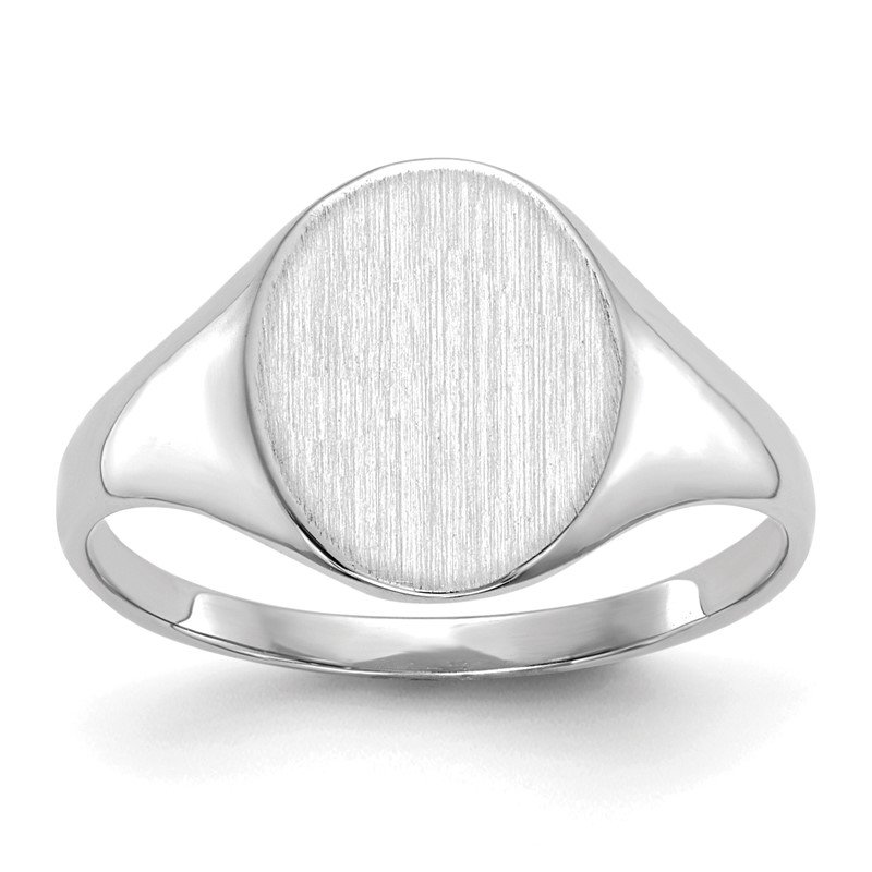Quality Gold 14k White Gold 10.0x9.0mm Closed Back Signet Ring