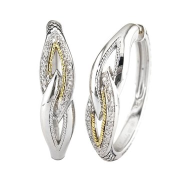 18kt and Sterling Silver Diamond Earrings