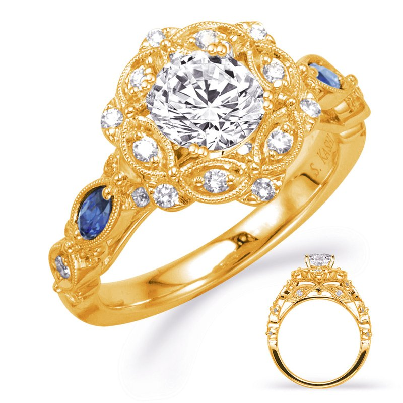 S. Kashi & Sons Bridal Yellow Gold Sapp & Dia Engagement Ring