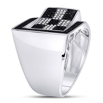 Sterling Silver Mens Round Black Color Enhanced Diamond Checkered Ring 1/2 Cttw