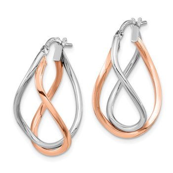 14k Yellow Gold w/White Rhodium and Rose Gold-plated Swirl Hoops