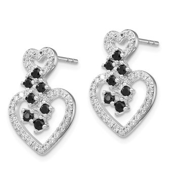 Sterling Silver Rhodium-plated CZ & Spinel 2-Heart Post Earrings