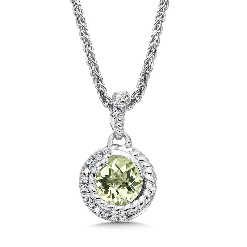 Colore Sg Sterling silver, green amethyst and white diamond pendant