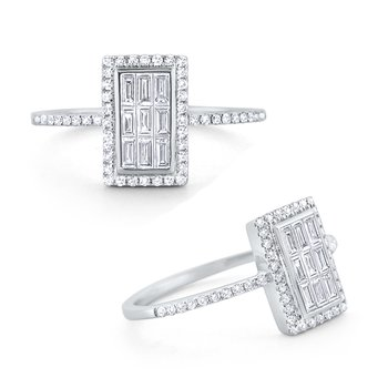 Diamond Rectangle Mosaic Ring Set in 14 Kt. Gold