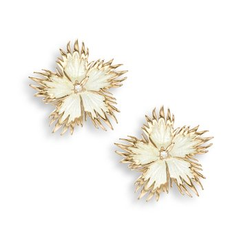 White Rock Flower Stud Earrings.Rose Gold Plated Sterling Silver-White Sapphires