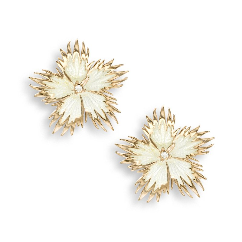 Nicole Barr Designs White Rock Flower Stud Earrings.Rose Gold Plated Sterling Silver-White Sapphires